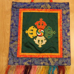 Double Dorje symbol wall hanging (green background)